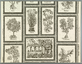 "Black and gray herbs, ""Rosemary"", ""Dill"", ""Camomile"", and a garden with beehives, all framed in black and white diagonally lined white ground. On margin: ""Herb Garden"", A Schumacher Custom Hand Print."