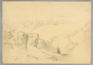 Jerusalem, center, with wall around it. Steep cliffs in foreground with trees on them, and valley at lower right.