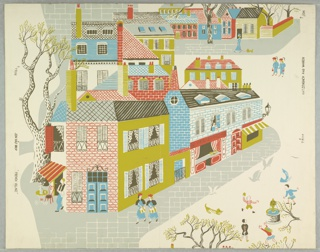 French village streets as seen from an upper window. At left is seen an outdoor cafe with waiter leaning against building. At lower right are children playing around a fountain. Printed in red, blue, gray and green on a white ground.