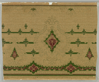 Urn-shaped dark red motif in dark green cartouche surrounded by gold scrolls and ivy. Green and red band and secondary motifs, on beige ground imitating textile.