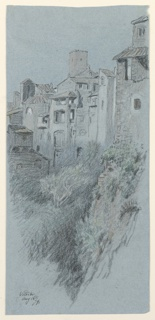 Sketch of a ravine with groups of houses and a tower in background.