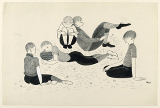 Five boys, some lying on the grass, others sitting. One has his head on a football.