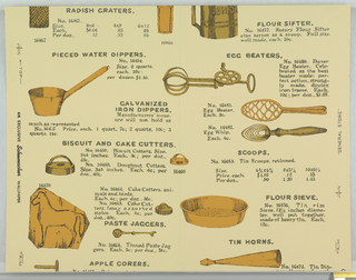 """Design resembling page of a trade catalogue of kitchen implements. Pictures of egg beaters, water dippers, flour sieves, etc., with descriptions and prices below. Shades of brown on beige. On margin: """"An exclusive Schumacher Wallpaper, 'General Store'""""."""