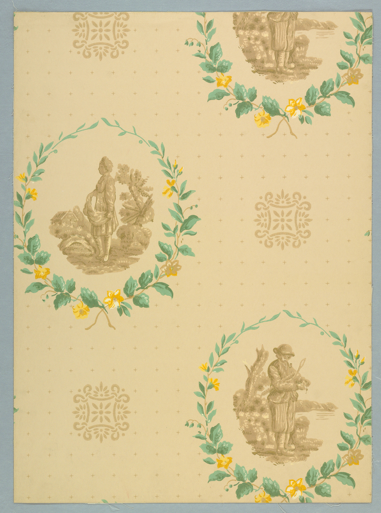 "Two alternating oval medallions wreathed with floral and leaf sprays. Pastoral scenes are enclosed. One depicts a woman sewing grain from a bay. The other shows a man baiting his fishing hook by a lake. Between each medallion is a small geometric rosette. Background filled with tiny crosses arranged in rows. Reproduced from an early wallpaper found in a trunk in Northampton, Massachusetts. One of the purest examples of early American designs. Printed on reverse: ""Birge waterfast, Glaze-tek, sidewall 3107 B, Border to match 107 B"". Printed in green, gold and tan, on buff field."