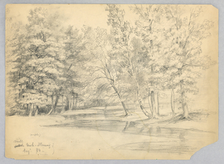 Winding brook at center, curving towards right. Meadow at lower left, with birch and maple trees at right. Verso: Light sketches of bluffs, upper left, with trees and rocks below, left and right.