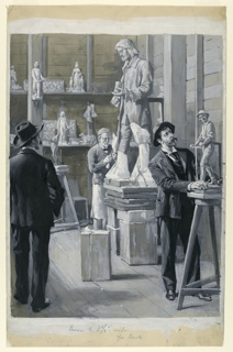 Interior of a sculptor's studio. Sculptor working on a large figure in the background. Man at right examines a small model.