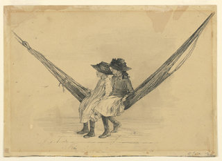 Two young girls wearing dark bonnets are seated in a hammock, facing left. Their legs are firmly placed on the wooden floor and the hammock streches from upper left to upper right.