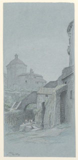 Female figures wash clothes in the foreground beside remains of old building. In the background at left, a structure with dome and adjoining building appear.