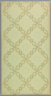 Trellis pattern of ogival lines, each void is filled with a wreath. Printed in green, tan, brown, and off-white on light green ground.