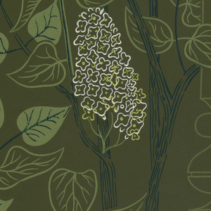 Pattern of lilac or wisteria, in white, on leafy vine. Some leaves are shaded in green while others are mere outlines. Printed on green ground.