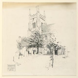 Drawing, St. Mary's Church, Huntingdon