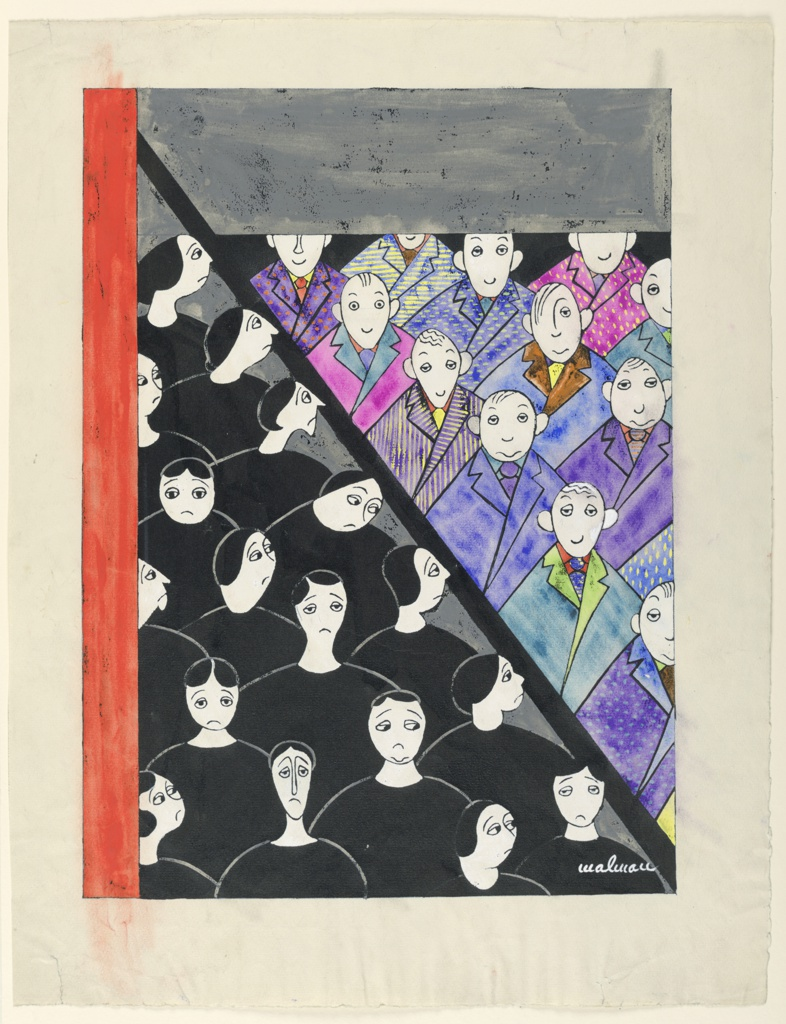 Design for cover. Two triangles. Left one with women in black dresses seen to bust. Right one, men in colorful coats, ties, etc.