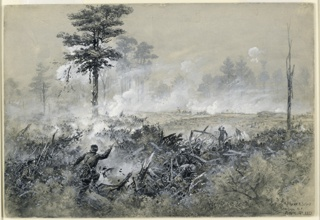The Union Army is making the assault on Fort Thompson. The army is in the foreground, and smoke is screening the trees in the background.