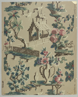 Vertical rectangle, a full width, giving one and one-half repeats. Chinoiserie summer house with Gothic details, rustic platform supporting vases, one with flowers, trees and clusters of flowers.