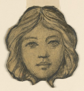 Face framed by hair, shown frontally.