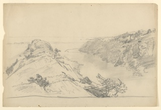 Sketch of a rocky cliff.