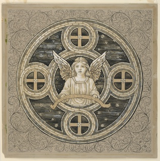 Acanthus scrolls surround a circular design. Interlaced black ribbon joins five circles, a central one and four lateral ones. Crosses stand in the latter. An angels is shown in the center holding a paper scroll with the inscription: FOR OF SUCH IS THE KINGDOM OF GOD.