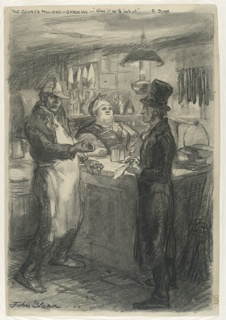 A man in a frock coat and top hat stands at right. He is being questioned by a man wearing a white apron at left. A heavy-set woman wearing a kerchief stands behing a counter. The setting is a small dry-goods or grocery store of the last century.