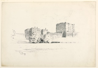 Distant view of a fortified castle, with high walls, and square crenelated towers.