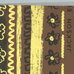 Freely drawn vertical stripes and zig-zags alternating with vertical columns of freely drawn rosettes. Printed in black and yellow on deep brown ground.