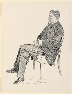 Trial proof for illustration. A pen and ink sketch of the actor, George du Maurier (1834-1896), shown seated in left profile. He holds spetacles in his hand, resting on his lap. Legs crossed.