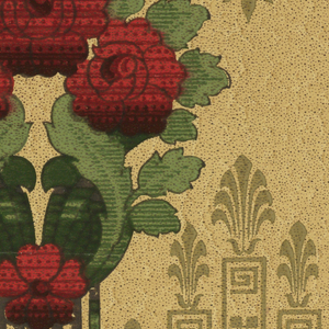 Cluster of three large red roses in green leaves, with one red flower at the base. Rows of five red flowers connected with each other by wavy green area. Olive green grillwork and honeysuckle motif. All on textured beige ground.