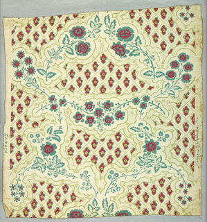 Reproduction of a paper of about 1775. Lace-like pattern of irregular medallions with twisted sprays of flowers and blossoms in the spaces between. The irregular, lace-like shapes contain elongated pink rosettes and diagonals in the form of olive dotted lines. The rosettes resemble leopard spots. Printed in pink, blue-green, olive on white ground.