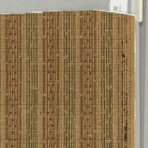 Vertical stripes of interrupted lines in brown and green, interspersed with red dots. On brown ground, imitating textile weave.