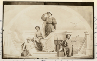 Photograph of mural. Central figure of standing woman, turned toward the left. Flanked by genii.