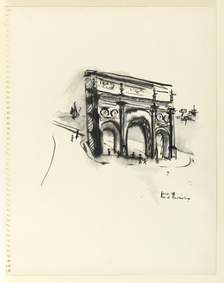 Vertical rectangle illustrating a view of the Arch of Constantine in Rome, seen turned slightly to the right, rendered semi-abstractly.