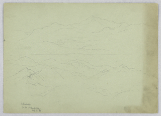 Two sketches, with sheet divided by a line. Above, valley, center, with high mountains beyond. Below, mountain range outlined.
