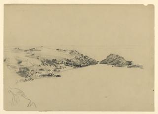 Sketch of a cove with rocks along coastline.
