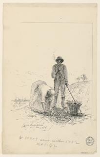 A man and a woman working by a river.  The man wears a hat and is standing near a basket; he is smoking, and holds a hoe.  The woman bends over, collecting something on the ground.