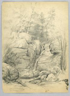 Drawing, Falls of Artists' Brook, North Conway, New Hampshire