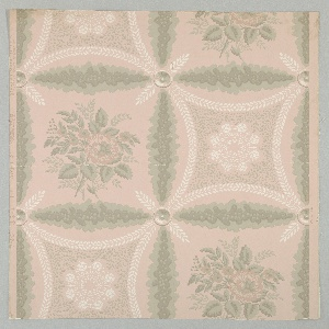 Design of squares (formed by green vines) which enclose alternately a bunch of roses and a lozenge shaped ornament formed by white leaves surrounding green leaves and white flowers.