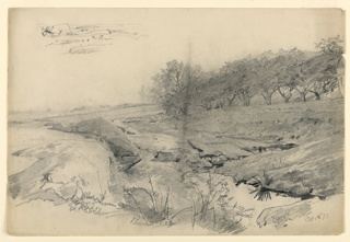 Sketch of the seashore with rocks in the foreground and sailboats on the horizon.