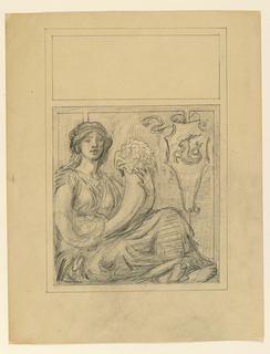 Sketch of a magazine cover with a seated female figure holding a cornucopia.
