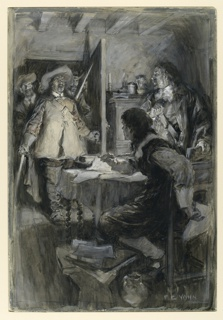 Illustration showing a group of men with drawn swords entering a room with two figures.  One, standing, turns; the others, seated, appears startled.