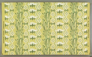 "On yellow ground, pattern in two shades of green and white. Elements arranged in vertical stripings of bullrushes; flowers, bows and scalloped edged bandings. Printed in margin: ""Scalamandre Wallpaper design No. 8903/ Scalamandre's Deerfield Restoration."