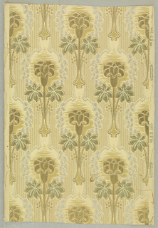 Stylized floral in metallic gold, silver, green tan over cream ground on textured paper