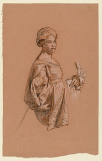 Vertical rectangle. Three-quarter-length figure of a woman, standing, facing right. Emphasis is on the draped sleeve of her costume. At right, a study of  folded hands.
