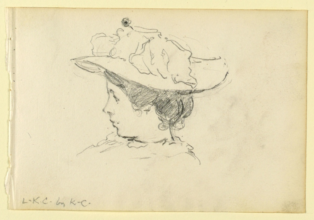 Portrait of a woman in profile, facing left, wearing a wide-brimmed hat.