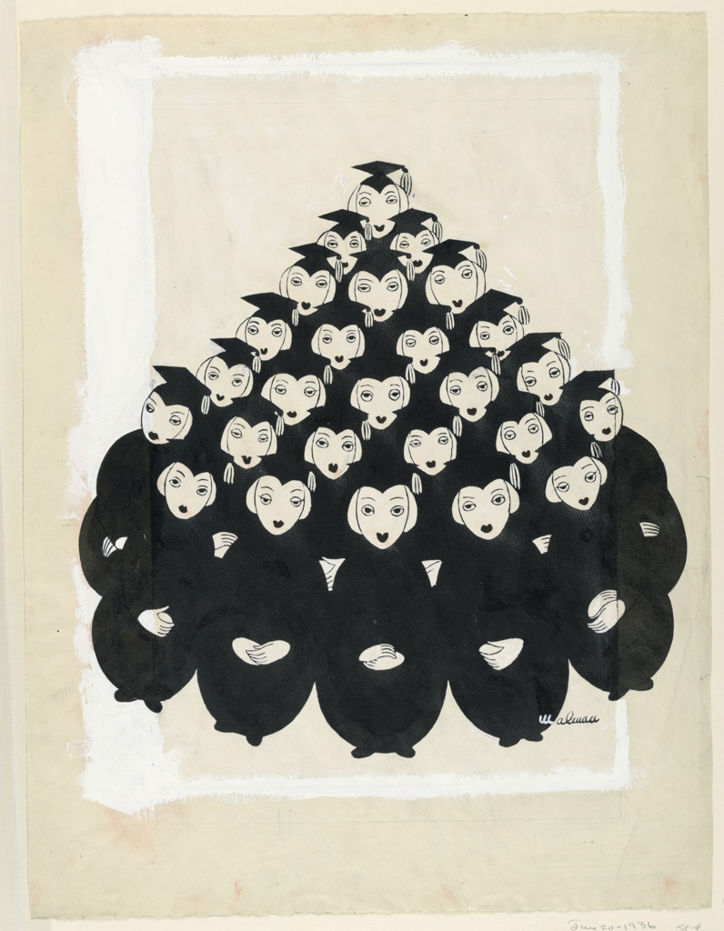 Graduating class of a girls' college in cap and gown grouped in pyramid. Framed by a white band.