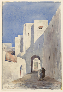 A narrow walled area leading to an archway in the background. Two figures in the foreground.
