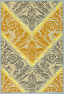 """Simulates a damask design drawn on a large scale. The colors are arranged in broad and narrow chevron bands. This is a reproduction of a paper used over 150 years ago in the homestead of John C. Calhoun at Fort Hill, Clemson College, South Carolina. Printed on reverse: """"Birge, waterfast, Glaze-tek, Calhoun, Sidewall 3121 A Border to match 121 A""""."""