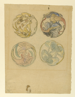 Horizontal view of ornaments composed of two petals and leaves at left; of two boughs with maple leaf seeds at right; in the top row of two leaf boughs, at left, of several boughs with leaves and a petal at rght in the bottom row.  Verso: A big castle on top of a hill, at center, sloping downward toward the right and the foreground, where two men with spears are shown.
