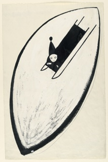 Child on bob sled coasting. Figure in black silhouette against a Chinese white background in shape of pointed oval.