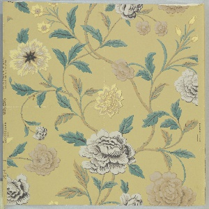 Design of branching stems with several kinds of flowers and leaves. Printed in brown, yellow, gray, black and green on a yellow ground.