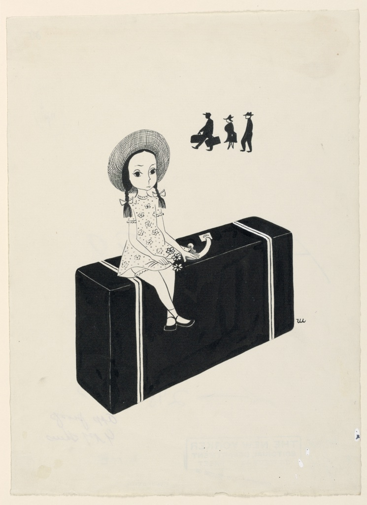 Young girl clutching three daisies and sitting on a large suitcase in foreground. Far background, silhouettes of a man, woman and a porter with two suitcases.