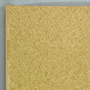 """a) Irregularly embossed glossy paper, pale beige with gray overprinting of rings and dots; b) Same on yellowish ground, with overprinting in green, brown and olive; c) Same, on warm beige ground, with overprinting in red, brown and olive. All three embossed in margin: """"0136 Hosel Tapeten""""."""